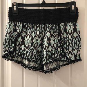 Pants - Aqua, White & Black Patterned Shorts